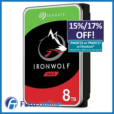 "Seagate IronWolf 8TB 3.5"" NAS HDD SATA3 Internal Hard Drive 7200RPM 256MB Cache"