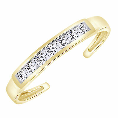 Eternity Band Cz Toe Ring Channel Set Adjustable Body Jewelry In 10k Solid Gold