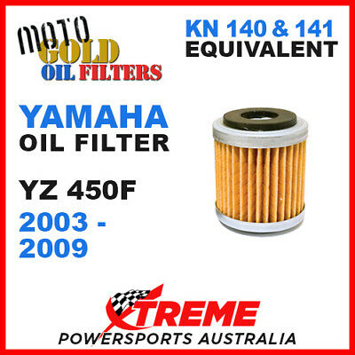 Single Yamaha Yz450F Yzf450 2003-2009 Moto Gold Mx Oil Filter Kn 140 141 Of13