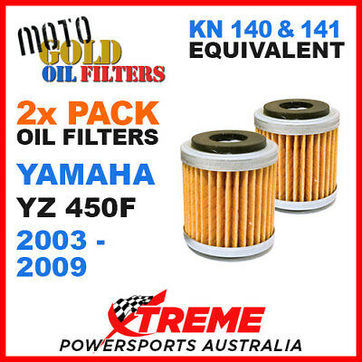 2 Pack Yamaha Yz450F Yzf450 2003-2009 Moto Gold Mx Oil Filter Kn 140 141 Of13
