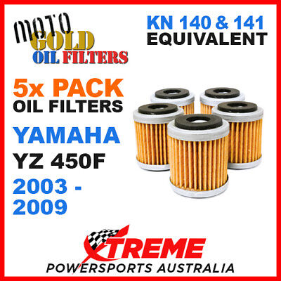 5 Pack Yamaha Yz450F Yzf450 2003-2009 Moto Gold Mx Oil Filter Kn 140 141 Of13