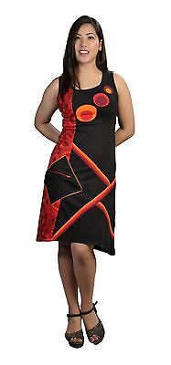 Ladies Summer Sleeveless Dress with Colorful Patch and Front Pocket-Galaxy