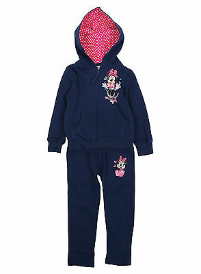 Girls Navy Disney Minnie Mouse Kids Full Jogging Tracksuit Age 3-8