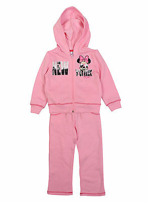 Girls Pink Disney Minnie Mouse Kids Full Jogging Tracksuit Age 3-8