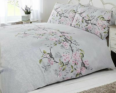 bird blossom floral duvet quilt cover bedding set grey pink & duck egg blue