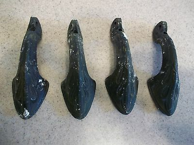 4 Nice Antique Victorian Cast Iron Handles Door Drawer Pulls Brackets