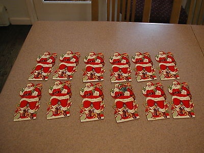 12 VTG Large Santa Claus Christmas Holiday Die Cut Outs Gift Tags Scrapbooking