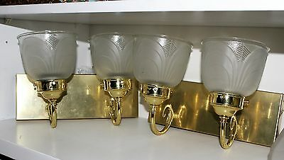 Vintage Pair Of Polished Brass Glass Wall Mounts Architectural Art Deco Sconces • CAD $58.37
