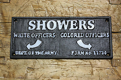 Cast Iron COLORED OFFICERS SHOWERS Black AMERICANA DEPT. OF THE ARMY PLAQUE