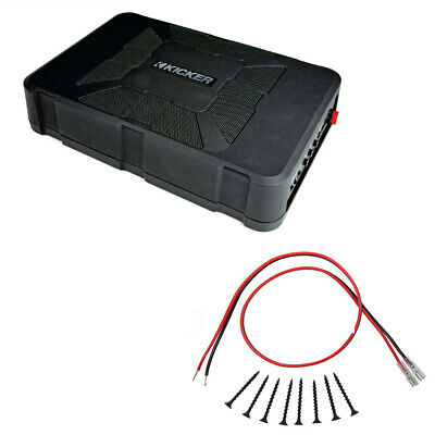 Kicker HS8 8-Inch Hideaway Powered Sub Subwoofer Package with Screw Install Kit