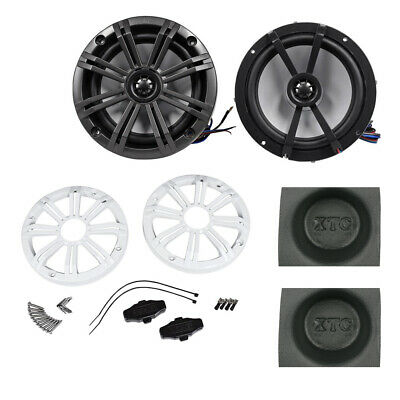 """Kicker KM654CW KM-Series 6.5"""" Marine Coaxial Speakers with Acoustic Baffle Pair"""