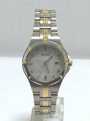 Women's Bulova 98P116 Two Tone Stainless Steel Diamond Accented MOP Dial Watch