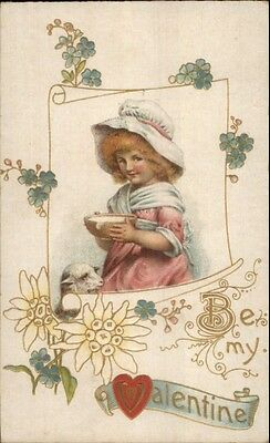 Valentine Little Girl in Bonnet Feeding Lamb c1910 Card - Non-Postcard Back