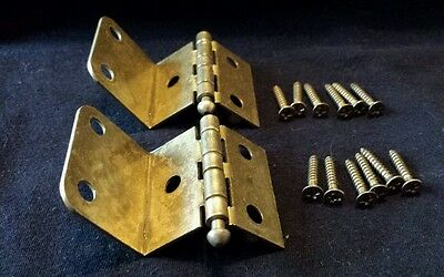 Vintage NOS AJAX BRASS Metal Cabinet Door JEWELRY BOX HINGES w Screws