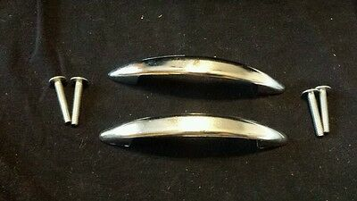 "LOT OF 2 Vintage AJAX MCM Sleek Chrome Cabinet Drawer Pull Handles 4"" W Screws"