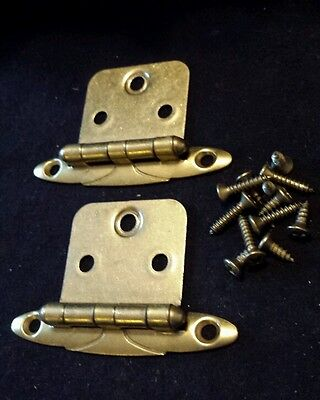 Vintage NOS AJAX BRASS Cabinet Door HINGES w Screws Art Deco Scrolled