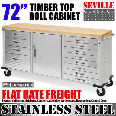 """SEVILLE CLASSICS 72"""" Timber Top Roll Cabinet Garage Storage Workbench Toolbox"""
