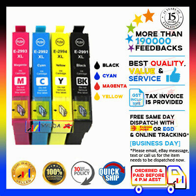 4x Non-OEM 29 XL ink cartridges for Epson Expression HOME XP-235 XP-432 Printer