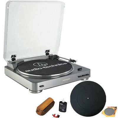 Audio-Technica AT-PL60USB USB Turntable w/ RCA Turntable Cleaning System Bundle