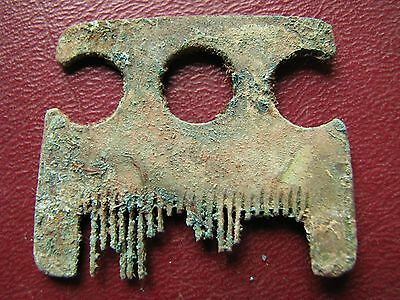 Authentic Ancient Lake Ladoga VIKING Artifact   Bronze Beard Comb  J23