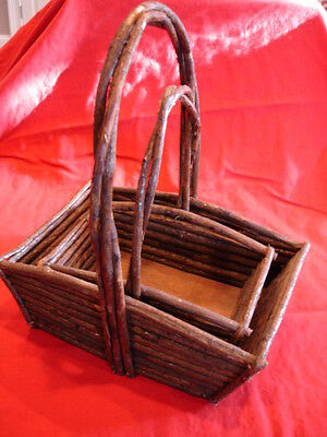 "Older / Antique ""Primitive"" Set of Nested Bentwood Wicker Baskets"