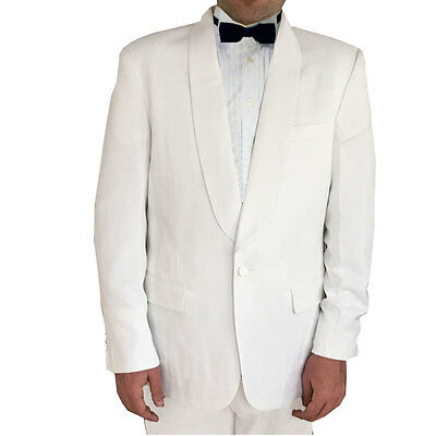 Mens White Tuxedo Dinner Jacket Shawl Collar - Cruise Wedding Formal - NEW