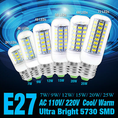 9/15/20W Ultra Bright Efficient Light Smd Led Corn Bulb Lamp Warm/cool White E27