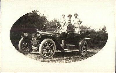 People in Early Car - NY License Plate 53806 c1910 Real Photo Postcard