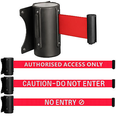 Wall Mounted Security/Safety Crowd Control Barrier Door Warning Sign Pull Ribbon