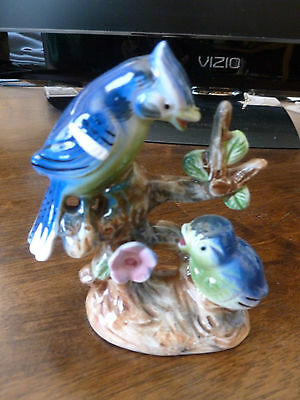 Vintage Blue Jay Figurine - Made in Japan - two birds on a branch