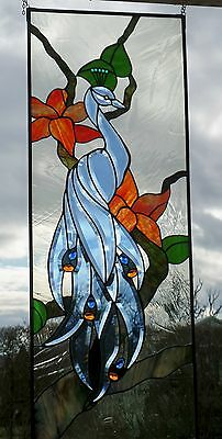 Leaded glass, Window image, blue Facets - Peacock, in Tiffany Engineering