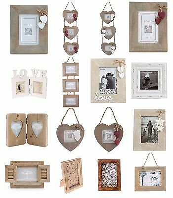 Shabby Chic White Natural Wood Rectangle Heart Hanging Photo Frames Decoration