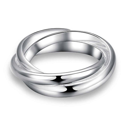 Ladies Silver Triple Band Russian Wedding Ring Interlocking Fashion Jewellery