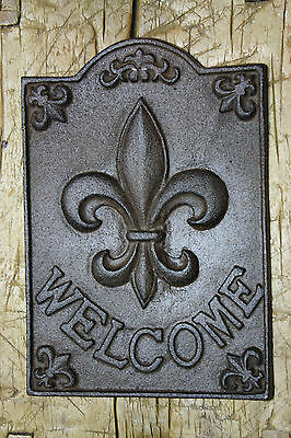 Large Cast Iron FLEUR DE LIS WELCOME Plaque Finial Garden Sign Home Decor