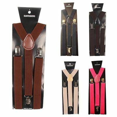 Children Kids Boys Girl Clip-on Suspenders Elastic Adjustable Braces 7-15Y H56