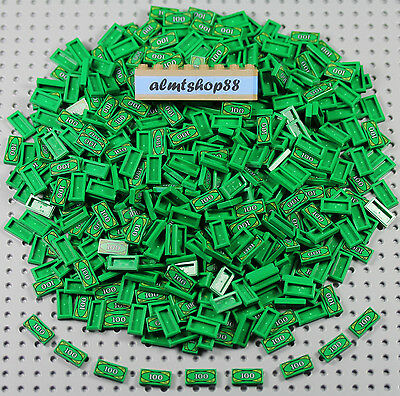 LEGO - 1x2 Tiles Money 100 Dollar Bill Green Bank Lot Minifigure Accessories