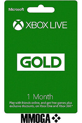 Xbox Live Gold Membership - 1 month Microsoft Subscription Key Xbox 360/One - UK