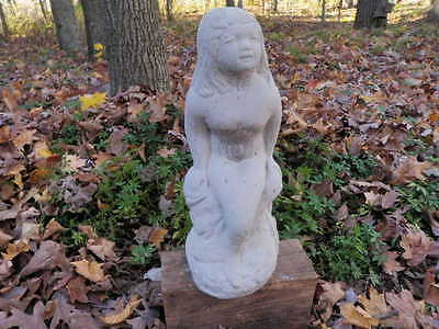 "Vintage Cement 15"" Mermaid Garden Statue Weathered Pitted Concrete  Nice"