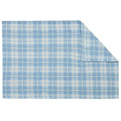 Super Soft Blue Check Baby Fleece Blanket New Baby Cot Bed Mosses Pram Basket
