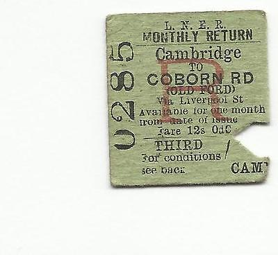 LNER ticket, Cambridge to Coborn Road (Old Ford), 1946