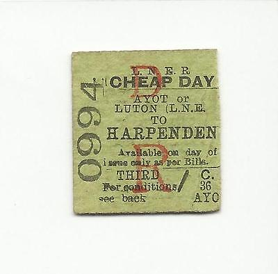 LNER ticket, Ayot or Luton to Harpenden, 1940