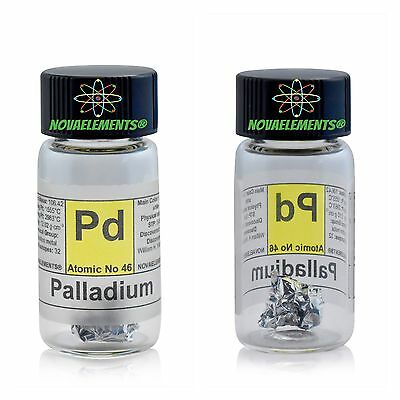 Palladium metal element 46 sample ~1cm foil ~5mg 99,95% in labeled glass vial