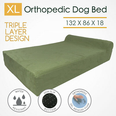 Extra Large Orthopedic Dog Beds Memory Foam Pet Bed Bolster Waterproof Big