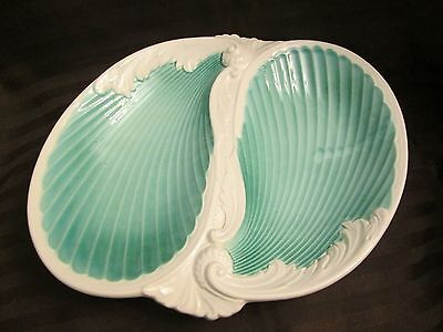 Vintage Shell Shaped Serving/Decorative Dish in Aqua - Gorgeous!