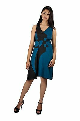 Women Blue Sleeveless Dress With V-Neck Design - Swamee