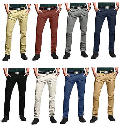 Mens Chino Trouser Slim fit Jeans Cotton Pants Straight Leg Trousers