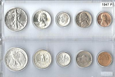 1947-P US Silver Mint Set - 5 Choice BU coins in  Whitman plastic holder