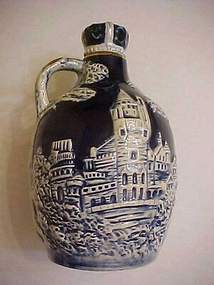 """How Dry I Am----7"""" tall MUSICAL DECANTER deep blue with scene WORKS"""