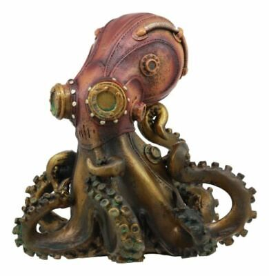 "Steampunk Octopus Military Sea Figurine Decor 5.5""h Statue Fantasy Collectibles"