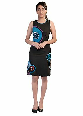 Ladies Blk & Blu Sleeveless Dress With Mandala Embroidery & Hand Painted Design